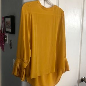 NWOT LOFT Mustard Fall Blouse with Accordion Cuffs